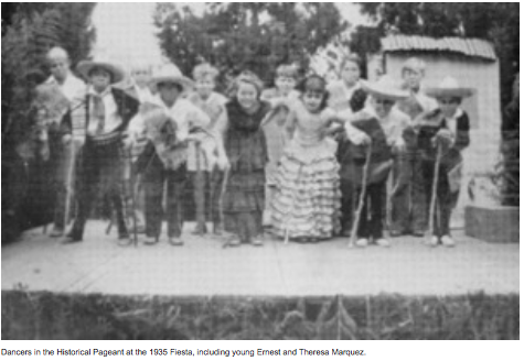 In the picture dancers in the Historical Pageant at the 1935 Fiesta, including young Ernest and Theresa Marquez.